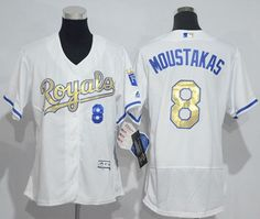 Women s Royals Mike Moustakas White Flexbase Authentic 2015 World Series  Champions Gold Program Cool Base Stitched MLB Jersey 20bc94215