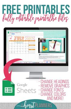 Editable printable files from iheartplanners. Full size, half size and personal size available and editable in Google Sheets.