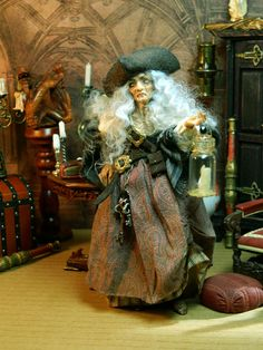 Sea Hag Witch Cornwall Pirate Miniature Doll Doll by LoreleiBlu