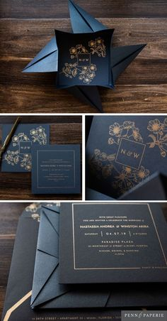 Bold Blossom Origami- Bold Blossom Origami Gold Floral Frosted Acrylic Wedding Wedding Invitation by Penn & Paperie Navy and Gold Elegant Wedding Invitations, Origami Wedding Invitations, Acrylic Invitations, Unique Invitations, Wedding Invitation Suite, Printable Wedding Invitations, Invitation Ideas, Wedding Stationery, Cherry Blossom Origami
