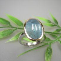 Aquamarin Ring 925/- Silber mit 750/- Gelbgold Fassung