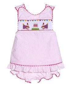 Look at this #zulilyfind! Pink Stripe Birthday Cross-Back Top & Bloomers - Infant by Kandyland #zulilyfinds