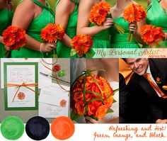 Green, Orange, and Black Wedding Color Inspiration