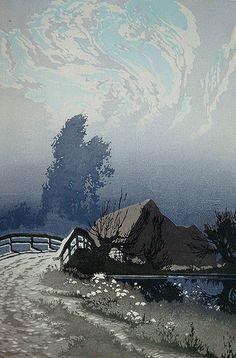 ✨ Oscar Droege (1898-1983) - Das Haus hinter der Brücke, Farb-Holzschnitt ::: The House behind the Bridge, Colour Woodcut