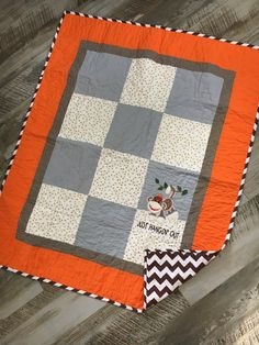 One-of-a-kind homemade sock monkey baby crib quilt! Sock Monkey Nursery, Sock Monkey Baby, Woodland Crib Bedding, Nursery Bedding, Handmade Quilts For Sale, Snuggle Blanket, Personalized Baby Gifts, Baby Quilts, Modern Crib