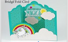 Featured On Splitcoast Stampers - with Sandi MacIver - Stampin With Sandi - sharing a Bridge Fold card created with the Magical Day Bundle from Stampin Up Fancy Fold Cards, Folded Cards, Card Making Tutorials, Making Ideas, Stampin Up, Split Coast Stampers, Bridge Card, Hand Stamped Cards, Interactive Cards