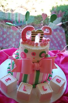 pink and green birthday party cake 1st Birthday Cakes, First Birthday Parties, First Birthdays, Birthday Ideas, Cupcakes, Cupcake Cakes, Comida Para Baby Shower, Tooth Cake, Cake Design Inspiration