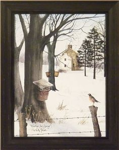 Waiting For Spring by Billy Jacobs 15x19 Maple Trees Syrup Robin Snow Country Home Primitive Folk Art Print Wall Décor Framed Picture by Home Cabin Décor, http://www.amazon.com/dp/B006ZNBL7W/ref=cm_sw_r_pi_dp_xQFAqb13J3ZVZ