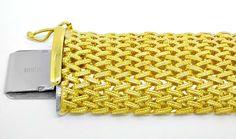 Foto 1, Gelbgold Armband gewölbtes Strickmuster 14K Luxus! Neu!, K2936