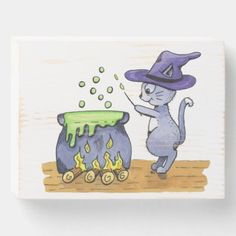 Watercolor Magical Witch Cat Wooden Box Sign Halloween Witch Hat, Witch Cat, Halloween Drinks, Disney Halloween, Halloween Horror, Funny Halloween, Spirit Halloween, Halloween Crafts, Cat Posters