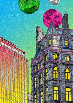 Magic Hour, Dublin - A4 print is €28 from JamArtPrints.com and signed by Irish Artist Shane O Connor. This colorful and detailed illustration, with its syfy twist combined with its diverse architecture is part of our Limited Edition  range and with only 100 copies divided between A4 and A3 it will make a great addition to any art collection or gift for the anyone looking for something unique and a little magical. #jamartprints #walldecor #wallhanging #interiordesignideas #art #artwork Magic Hour, Irish Art, Famous Landmarks, Hidden Treasures, Local Artists, Limited Edition Prints, Dublin, Art Prints, Signs