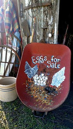 SALE Yard Art Hand Painted Chickens on by SusanWymolaArt on Etsy, $85.00