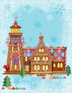 gingerbread  lighthouse  illustration vintage
