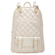 2f3619eabef5 British Style Quilted Lining Backpack School Bag White Leather Backpack