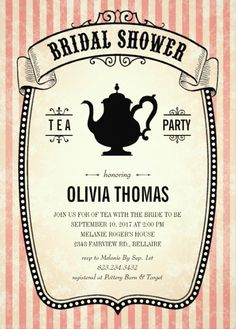 Vintage Bridal Shower Tea Party Invitation. Great for a garden tea party in honor of the bride-to-be. Customize this bridal shower invitation online! More at http://superdazzle.com