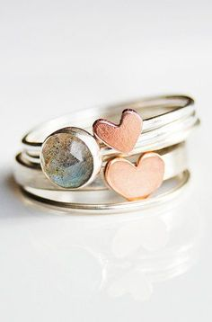 Stackable Copper and Silver Ring
