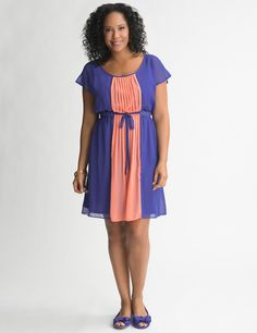 Colorblock Chiffon Dress by Lane Bryant | Sonsi