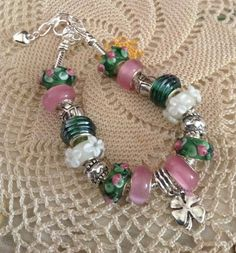Pretty Glass Beads 8 Bracelet Green Pink White 4 by badcatsmom, $23.00