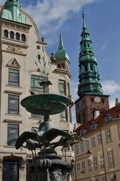 Storkespringvandet ( the Stork water fountain) At Amager Torv, Copenhagen