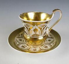 Antique KPM Porcelain CUP & SAUCER German FRENCH EMPIRE Style Gold Gilt Berlin