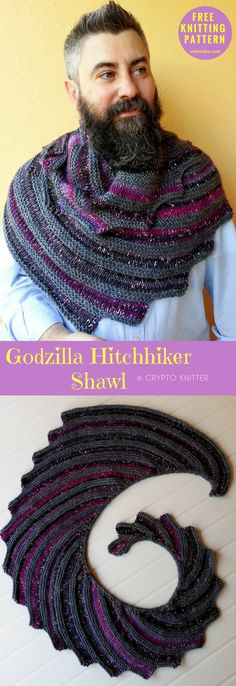 Hitch-Hiker #knittingshawl #FreeKnittingPattern Neck, Torso, Shawl / Wrap| size: all, easily adjusted | Written | US Terms Level: upper beginner yarn: Borgo de' Pazzi Kuki Borgo de' Pazzi Soavia Borgo de' Pazzi Artilea / DK (11 wpi) / 219 - 328 yards (200 - 300 m), Needle: US 10 - 6.0 mm 7.0 mm Author: Crypto Knitter