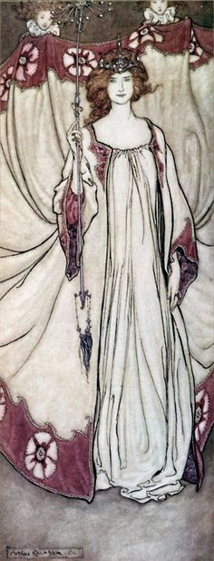 Queen Mab, Who Rules in the Gardens illustration by Arthur Rackham for Peter Pan in Kensington Gardens by JM Barrie, 1906