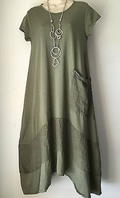 Quirky Lagenlook Balloon hem 100% Cotton dress-One size -14-18 Khaki