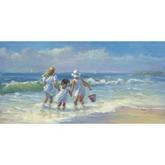 Helping Hand girls daughters Ocean Beach art painting Canvas Giclee Lucelle RAAD Signed 6 x 12