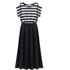 Choies Black Striped Short Sleeve Suspender Maxi Dress (€22) ❤ liked on Polyvore featuring dresses, choies, black, black dress, stripe maxi dress, black stripe dress, short sleeve black dress y short sleeve dress