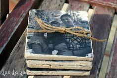 DIY photo coasters, add a personal quote to each one. #diy #photography