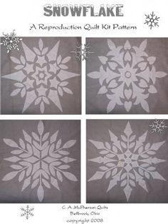 Vintage SNOWFLAKE Applique Kit Quilt PATTERN Paragon repro. annasquilts.ecrater.com
