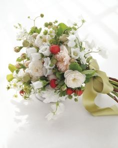 Bountiful Bouquet of flowering strawberries and sweet peas with blush and white Fair Bianca roses, starlike tweedia, and Canterbury bells. The mix of blooms and fruit gives off a delicate fragrance. Wedding Theme Inspiration, Wedding Themes, Wedding Ideas, Floral Wedding, Wedding Bouquets, Wedding Flowers, Crazy Wedding, Dream Wedding, Summer Wedding