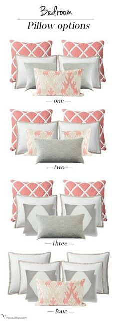 When it comes to accessorizing with accent pillows Acosta Acosta Wirth Art finds there are so many questions . choosing how many pillows, what size pillows, what fabric on which pillows. However, this chart of pillow groupings will help to sto Home Bedroom, Master Bedroom, Bedroom Decor, Bedroom Colors, Coral Bedroom, Bedroom Interiors, Girls Bedroom, Bedroom Furniture, Bedroom Ideas