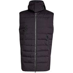 Adidas Y-3 Quilted Down Vest ($515) ❤ liked on Polyvore featuring men's fashion, men's clothing, men's outerwear, men's vests, black, mens down vest, mens zip vest, mens quilted vest and mens zipper vest