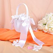 Classic Flower Girl Basket in White Satin Wit... – USD $ 9.99