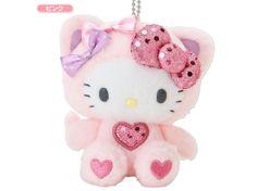Hello Kitty Plush Doll Mascot Chain Key Ring Heart Pink SANRIO JAPAN