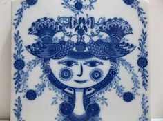 Vintage Porcelain Tile TRIVET Scandanavian Folk Art GIRL With Birds SEITO Japan