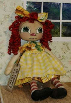 Primitive Raggedy Annie Doll - 10 inches tall curly red locks
