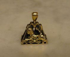 VINTAGE 14K GOLD ART DECO EGYPTIAN REVIVAL WATCH FOB CHARM