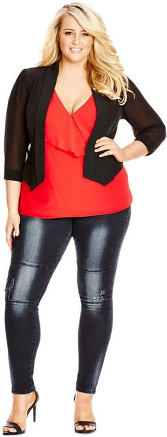 City Chic Plus Size Open-Front Cropped Blazer Plus Size Outerwear, Outerwear Women, Outerwear Jackets, Plus Size Fall Fashion, Curvy Fashion, Woman Fashion, Blazers For Women, Jackets For Women, Plus Size Dresses