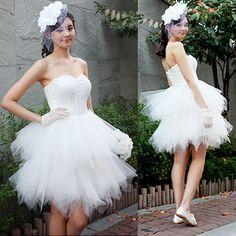 Beautiful White Tulle Knee Length Short Tutu Princess Wedding Dress SKU 166080