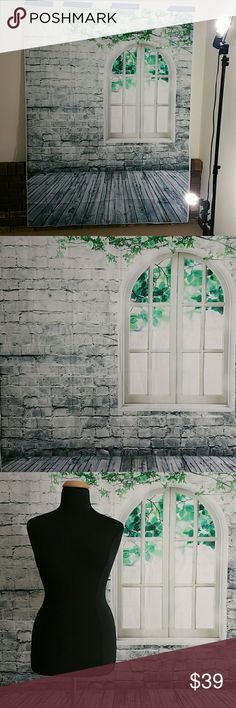 Backdrop Vinyl distressed white brick and wood floor... it's great to up your photography game here on posh and elsewhere! Super lightweight, you can see its hanging on drywall with just a few pieces of painters tape. photography backdrop  Other