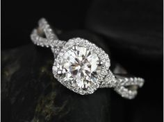 Rosados Box Josephine 7mm White Gold Round FB Moissanite and Diamonds Twisted Cushion Halo Engagement Ring