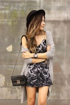 Summer outfit with a black roses printed top and skirt with a gray cardigan. Casual comfy look also wearing Keds and black hat. waysify