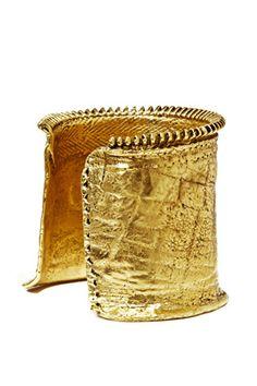 Gold statement cuff by Andy Lifschutz jewelry
