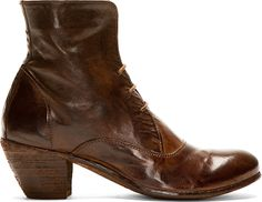 Officine Creative Brown Leather Skipper Ankle Boots