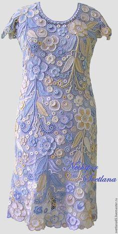 """Купить Платье вязаное крючком """"Восточный ветер"""".Ирландское кружево - комбинированный, цветочный, бежевый, желтый"""