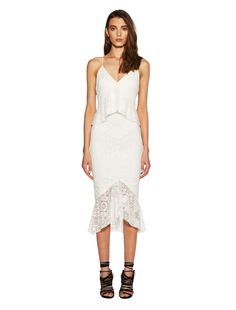 bec and bridge Marvel Midi Dress find it and other fashion trends. Online shopping for bec and bridge clothing. Stretch lace midi dress subtle v neckline. White Midi Dress, Peplum Dress, David Jones, Stretch Lace, Frocks, New Dress, Marvel, Bridge, Fashion Trends