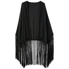 Elegant Open Front Fringed Kimono ($24) ❤ liked on Polyvore featuring jackets, kimono, outerwear, casacos and black