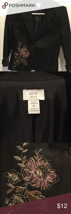 Dark Gray Suit Jacket Apt. 9 Dark Gray Suit Jacket with Embroidered Flower in pink. Stunning Jacket can been with a dress, jeans or dress pants. Size: 8P Apt. 9 Tops